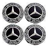 Set 4 x naafafdekking vervangend onderdeel voor Mercedes Benz diameter - 75 mm wieldop laurierkrans zwart kap deksel naafdeksel Wheel Cap wielnaafdeksel sierdeksel 4 stuks