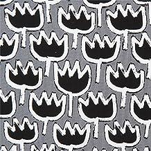Tissu Copenhagen Print Factory gris avec des motifs de fleurs blanches et noires