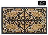 EHC Panama Natural Coir & Rubber Indoor or Outdoor Non-Slip Door Mat, Multi-Colour, 45 x 75 cm