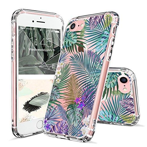 iPhone 8 Hülle, iPhone 7 Hülle, MOSNOVO Tropisch Palmblatt Muster TPU Bumper mit Hart Plastik Hülle Durchsichtig Schutzhülle Transparent für iPhone 7 (2016) / iPhone 8 (2017), iPhone 7 / 8 Case Tropical Forests