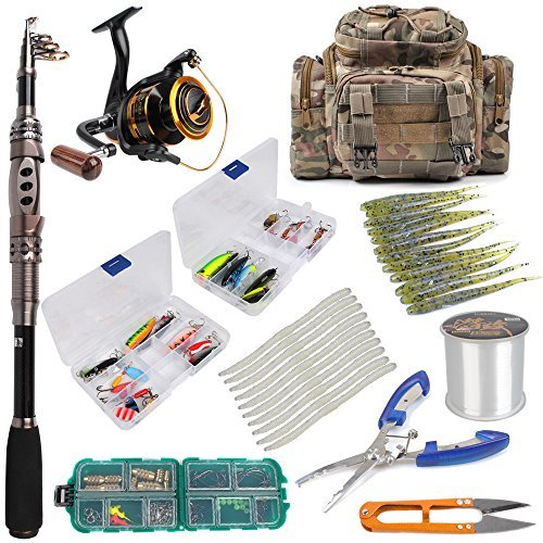 Dr.Fish Angelrute und Rolle Combos Set Set Lines Köder Zubehör Angeltasche Ausrüstung Organizer Süßwasser Salzwasser 2 Größen, 6ft Rod, Size 3000 Reel, Tackle Bag+Full Kit -
