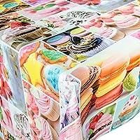 Hule mesa mantel de hule lavable dulces, toalla, carbón, 100x140cm