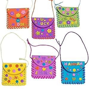 6 x Bastelset Geldbörse Tasche Portemonnaie Kindergeburtstag Basteln Kindergarten Mitgebsel Beschäftigung Fädeln Mitbringsel