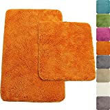 PROHEIM Badematte in vielen Formen rutschfester Badvorleger Premium Badteppich 1200 g/m² weich & kuschelig Hochflor, Farbe:Orange, Produkt:2er Set 50x80cm + 45x50cm