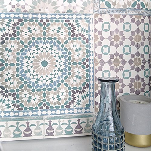 Marrakesh Reclaimed Mosaic Patterned Tile Effect Wallpaper in Purple & Green (Full Roll)