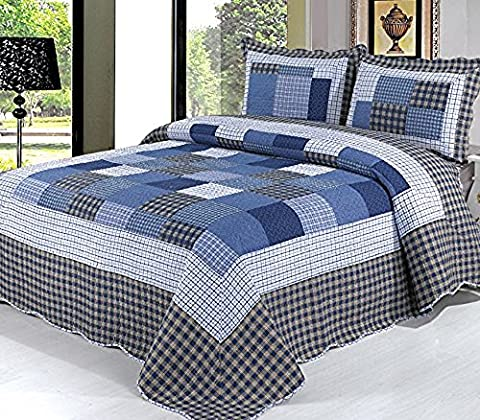 Beddingleer King Size Navy 3pcs 100% Cotton Quilted Bed Spread Bedspread Printed Checked Comforter Set (Check Pattern