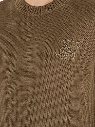Sik Silk Homme Raw Edge côtelé Neck Logo Knit, Vert Vert