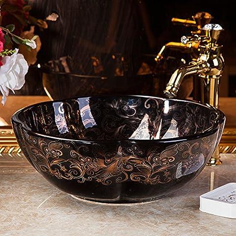 Vaso bagno lavandino arte Lavabo,l'Arte Ceramica Lavabi Hotel Il lavandino del bagno specchi vanity Colore Nero Butterfly Tavola Rotonda 41*15cm