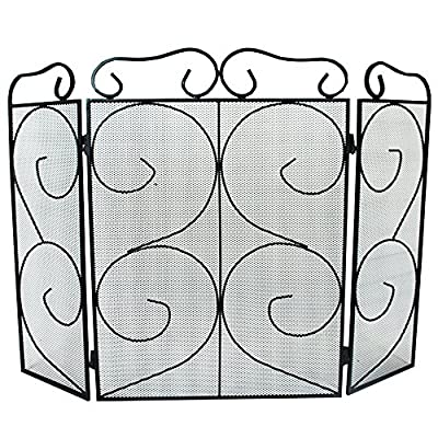 Simpa® Chequers 3 Panel Folding Fire Guard Fire Place Guard Fire Screen Spark Flame Guard Decorative 3 Panel Folding Design, Black