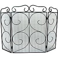 Simpa® Chequers 3Panel plegable chimenea Protector de chimenea fuego pantalla Spark Protector de llama diseño de 3Panel plegable, negro