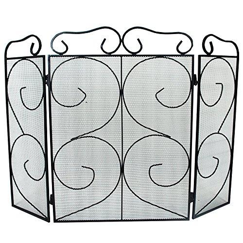 Simpa® chequers 3pannello pieghevole per camino fire place guard fire screen spark parafiamma decorativo design pieghevole a 3pannelli, nero