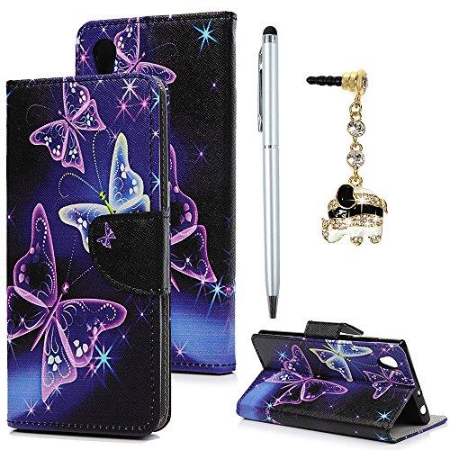 Case Cover für Sony Xperia L1 Hülle Handyhülle Flipcase Violetter Schmetterling Muster Wallet Case Cover Bookstyle Stand Kartenetui Schutzhülle PU Leder Hardcase Tasche mit Karteneinschub und Magnetverschluß