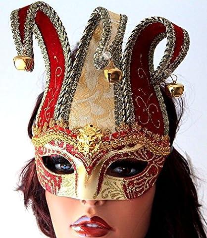 Masquerade Masque Dor - Elaborer Rouge et Or Bouffon Vénitien Masquerade