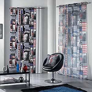 Douceur d'interieur rideaux 140x240 cm à oeilletsnew york drapeau usa rock