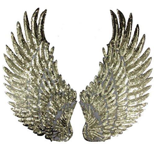 ickte Aufnäher Flügel Glitzer Flicken Zum Aufbügeln Nähen Patch Sticker Applique Badge für Kleid Hut Schuhe Jeans DIY Kostüm Schmücken 1 Paar (Gold) (Diy Kostüm Flügel)