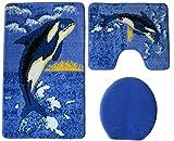 Badgarnitur 3-teilig blau weiß schwarz, Motiv Wal / Orca, Badteppich mit Ausschnitt.für Stand-WC, 80 x 50cm (große Matte),