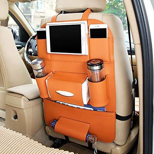 Autofier Tan Color Car Organizer Storage Bag Back Seat Box Organizer Holder Cover Backseat Pockets Books Phone Auto Stowing Tidying Accessories For Maruti Suzuki Ertiga