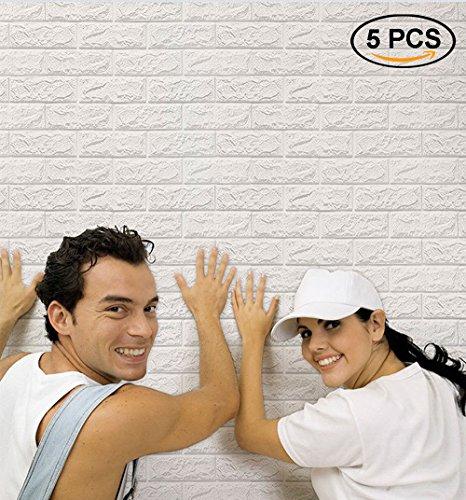 3D Wandpaneele Steinoptik, NHSUNRAY 3d Ziegelstein-Tapete, Wandpaneele Selbstklebend für Schlafzimmer Wohnzimmer Moderne Tv Schlafzimmer Wohnzimmer Dekor (60 x 60 cm, Weiß, 5 Stück)