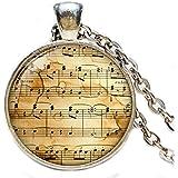 Leonid Meteor Shower Colgante de notas, collar de música, joyería fina, joyería de cristal cúpula, hecho a mano puro