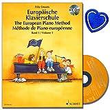Europäische Klavierschule in 3 Sprachen - Band 1 mit CD von Fritz Emonts - Spielerischer Anfang ohne Noten - Deutschen Musikeditionspreis 1992 - mit bunter herzförmiger Notenklammer