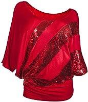ZEZKT T-Shirts à Manches Courtes Femme ,Tops en Paillette Femme Chemise Chic Blouses Épaule Dénudée T-Shirts Manche...