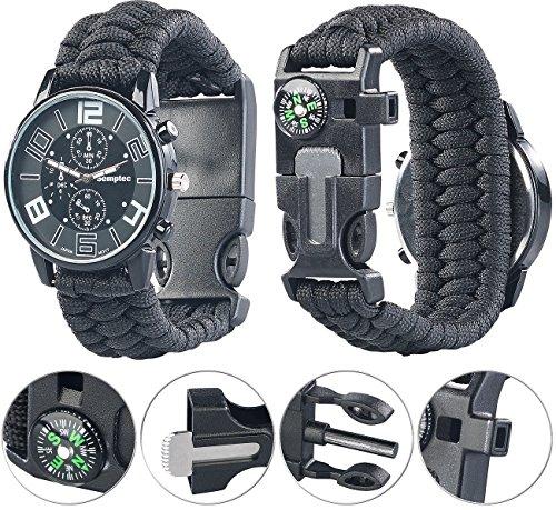 Semptec Urban Survival Technology Outdoor Uhr: 5in1-Armbanduhr mit Paracordband, Feuerstahl, Kompass, Notfallpfeife (Militär-Uhren)