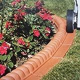 Befahrbare Rasenkante 2,2 m 14-teiliges Set witterungsbeständige Beeteinfassung mit senkrechten Einsteckkanten Beetumrandung, Farbe:terrakotta