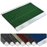Repräsentative Fußmatte Profi Brush - Testurteil Sehr Gut - Schmutzfangmatte mit Alu Rahmen für außen und innen - verschiedene Bürsten Farben und Größen ( 50x80cm Grün )