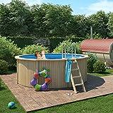 ISIDOR Claas Holzpool mit Stahlwand inkl. Sandfilterpumpe 360x120cm (Ø 300 mit Holz/Edelstahlleiter)