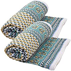 Cloud Mart Jaipuri Print Cotton Single Bed Razai Quilts Blankets for Home, 85x55 Inches(Multicolour) - Pack of 2