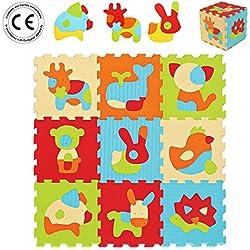 LUDI – Tapis de sol épais pour l'éveil de bébé – 10005 - puzzle géant aux motifs Animaux – dès 10 mois – lot de 9 dalles en mousse multicolores et 51 éléments pour tapis de jeu.