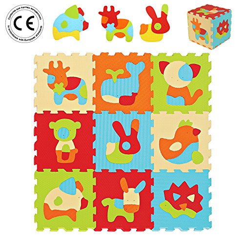 LUDI – Tapis de sol épais pour l'éveil de bébé – 10005 - puzzle géant aux motifs Animaux – dès 10...
