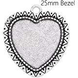25mm Heart Bezel Settings Antique Silver Plated Pendant Trays-20pcs