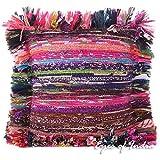 """Eyes of India 12"""" Lila Chindi Trapo Alfombra de colores Cobertor Decorativo Sofá fundas de colchón Almohada indio bohemia Boho - lila #82"""