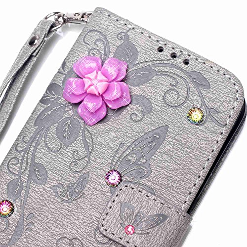 6 Plus / 6S Plus Hülle,6 Plus / 6S Plus Case,Cozy Hut ® Ultra Slim Flip Lederhülle / Ledertasche / Hülle / Case / Cover / Etui / Tasche für iPhone 6 Plus / 6S Plus (5,5 Zoll) / 3D Diamant Strass Bling grau Butterfly flowers