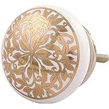 Indian-Shelf Handmade Ceramic Golden Ornamental Flower Flat Drawer/Dresser Knobs -2 Pieces