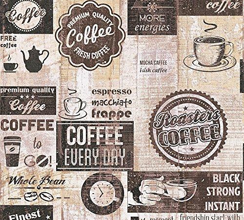 *Papier Küchen Tapete Kaffe Coffee Cafe creme beige braun 33480-3*