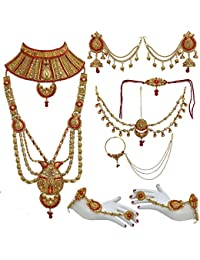 Lucky Jewellery Bridal Golden Red Color Alloy Gold Plated Wedding Jewellery Set For Girls & Women - B07CK1SQKT