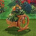 Garten Dekoration Pflanzkübel mit Wagenräder aus Holz 44 cm × 42 cm x 40 cm (B x L x H) von Melko auf Du und dein Garten