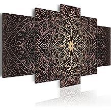 Cuadro en Lienzo 200x100 cm - 3 tres colores a elegir - TOP - lienzo tejido-no tejido - 5 Partes - Cuadro su lienzo tejido-no tejido - Impresion en calidad fotografica f-C-0132-b-n Mandala Oriental Ornamento 200x100 cm B&D XXL
