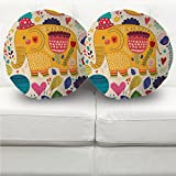 #10: Elephant decorated pattern round cushion cover set of 2 with filler 16 X 16 by Aart Store