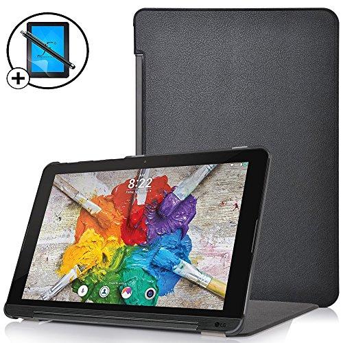 Forefront Cases® LG G Pad X II 10.1 Hülle Schutzhülle Tasche Case Cover Stand - Ultra Dünn & Leicht mit R&um-Geräteschutz inkl. Eingabestift & Bildschirmschutz (SCHWARZ)