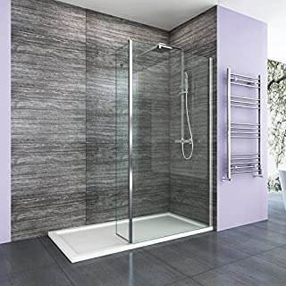 1100mm Walk in Wetroom Shower Enclosure 8mm Easy Clean Glass Screen Panel with 300mm Return Panel