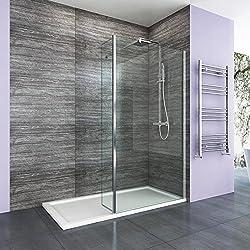 ELEGANT 800mm Walk in Wetroom Shower Enclosure 8mm Easy Clean Glass Screen Panel + 300mm Return Panel