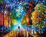 Dreamsy Malen nach Zahlen Kit, DIY Ölgemälde Zeichnung romantische Straßenliebhaber Spaziergänge in der Straße Leinwand mit Pinsel Weihnachten Dekor Dekorationen Geschenke - 16 * 20 Zoll rahmenlose