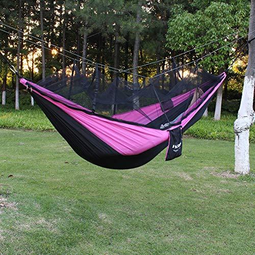 PSKOOK Camping Hängematte mit Moskitonetz Ultraleichte Reise-Backpacking-Hängematte(Mit Karabiner) (Schwarz, Pink)