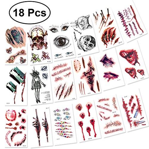 Toyvian 18 PCS Horror Realistische Gefälschte Blutige Wunde Temporäre Tattoo Aufkleber für Halloween Kostüm Party