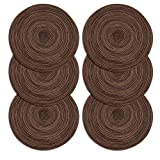 U'Artlines Platzsets/Place Mat, Runde-Form Crossweave Woven Tischset Set von 6 (rund, braun)