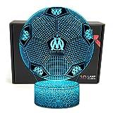 Deal Best Football Forme 3D Illusion Optique Intelligent 7 Couleurs LED Night Light Lampe de Table avec câble d'alimentation USB Olympique de Marseille...