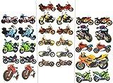 Unbekannt 30 tlg. Set Sticker / Aufkleber - Motorräder - selbstklebend - für Jungen - Stickerset Kinder - z.B. für Stickeralbum / Motorradfahrer Motorrad Fahrzeug
